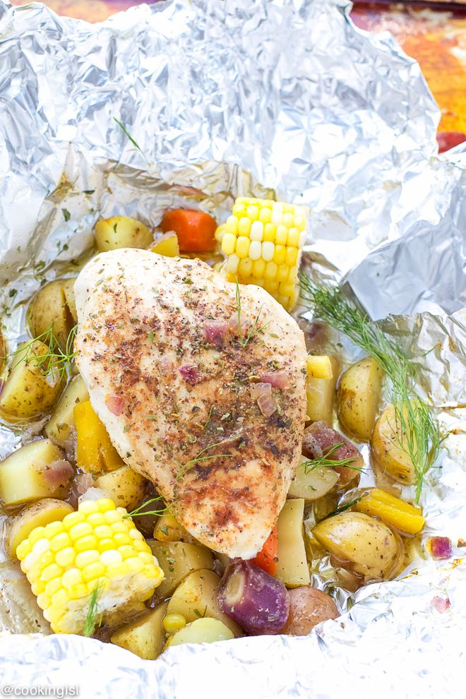 "Grilled Chicken And Potatoes In Foil Recipe – chicken and potatoes, a favorite combination, cooked on the grill and ready in 30 minutes. Effortless dinner, perfect for the ""lazy"" cooks out there. With the hot weather these days, I refuse to start the oven, unless it is really necessary! I'm struggling with dinner ideas …"