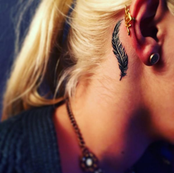small feather tattoo behind the ear #ink #youqueen #girly #tattoos