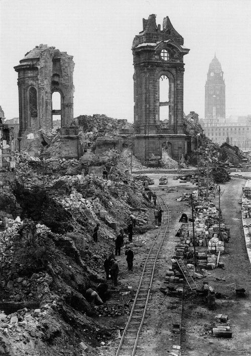 Civilians beginning the long task of clearing the ruins of Dresden Frausenkirche in 1952.    One of the most important Lutheran churches in Dresden, it was completely destroyed in an Allied bombing raid in February 1945. Its rebuilding was finished in 2004; the interior in 2005 and was reconsecrated in October the same year.