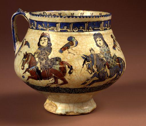 Seljuk Horsemen on a Decorated Jug, Mina'i Ware, Iran, 12th to 13th Centuries