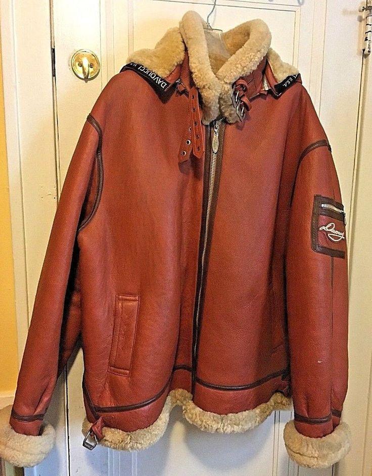 5XL   Davoucci Mens 100% Shearling Leather Coat Jacket Cognac-/Brown Trim Hooded #WDavoucci #flightbomber  Stores.ebay.com/urbanreller