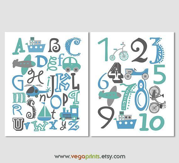Para imprimir archivo - alfabeto y los números de pared de impresión de arte…