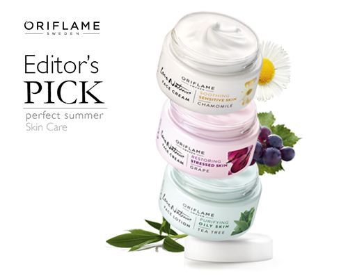 Tea tree for oily skins, grape skins to rejuvenate dull photos and lifeless and Chamomile for extra care on sensitive skin. This summer take the skin care and experience the line Love Nature with natural ingredients suitable for every skin type. #oriflame