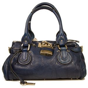 CHLOE Paddington Lock Electric Navy Blue Leather Handbag Satchel Bag PurseCHLOE Paddington Lock Electric Navy Blue Leather Handbag Satchel Bag