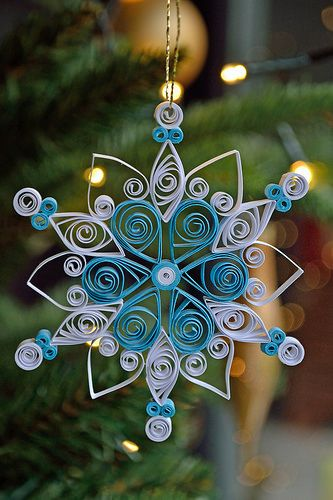 Small quilled white and blue snowflake   Flickr - Photo Sharing!