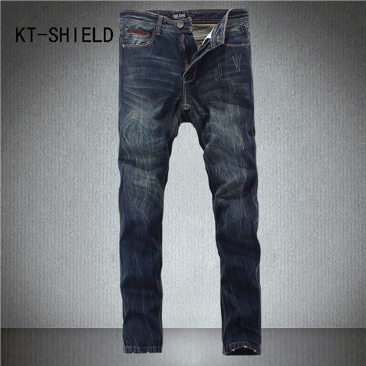 Biker Jeans for men brand Fashion full length Slim fit straight denim trousers Casual hip hop Distressed Ripped vaqueros hombre