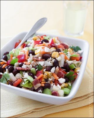 Black Bean, Vegetable and Brown Rice Salad with Spicy Lime Vinaigrette...tasty &  pretty!