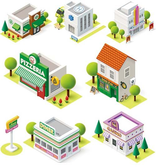 Cartoon building models shiny vector