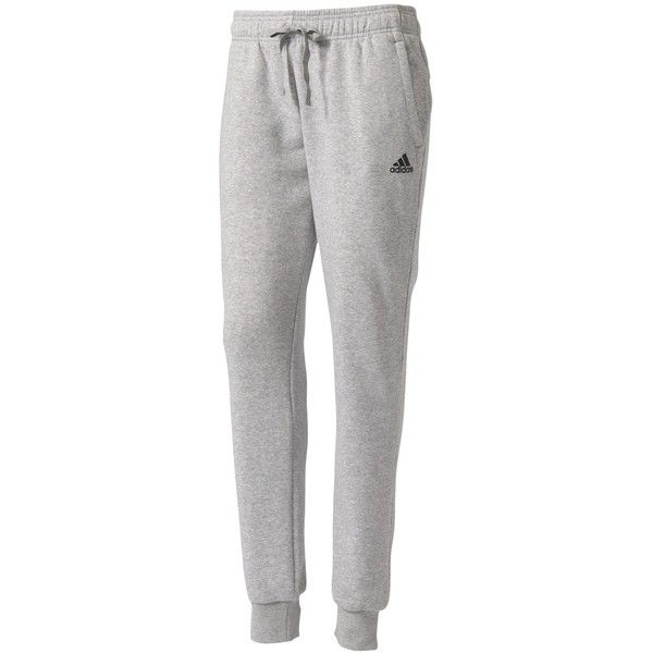 Adidas Essentials Solid Tracksuit Bottoms, Grey Heather ❤ liked on Polyvore featuring activewear, activewear pants, adidas sportswear, adidas, track pants and adidas activewear