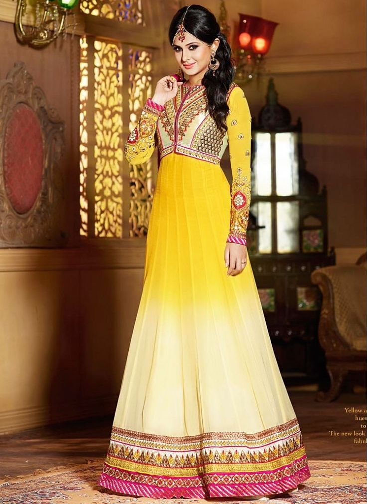 Gleaming Jennifer Winget Off White and Yellow Georgette Designer Churidar Suit  Impersonate into mixture of boldness and beauty in this celebrity jennifer winget style off white and yellow designer churidar suit, it's beautifully made with georgette material and decorated with embroidery work, pita work, resham embroidery and zari work.  http://www.fillyz.com/index.php?route=product/product&product_id=14422