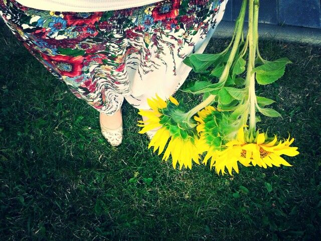 Sunflowers and harem pants.
