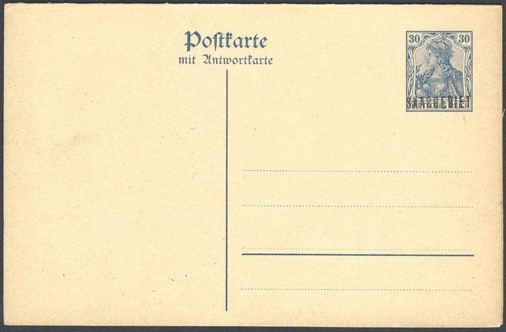 Germany, Saar, Saargebiet 1920, 30 Pfg.-Doppelkarte, ungebraucht, Antwortteil mit schönem Aufdruckfehler (Mi.-Nr.P 7 III). Price Estimate (8/2016): 15 EUR.