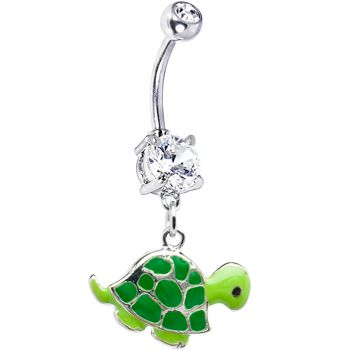 Turtle belly button ring, how cute!