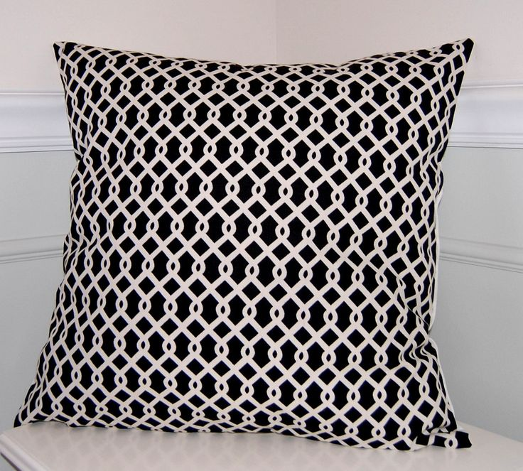 Geometric Throw Pillow Cover, Black & White Cushion Cover, Contemporary Pillow, 18x18 by CottagePixie on Etsy