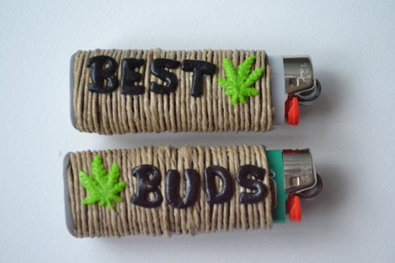 Best Buds Marijuana Leaf Friendship Lighter Cover Set of 2