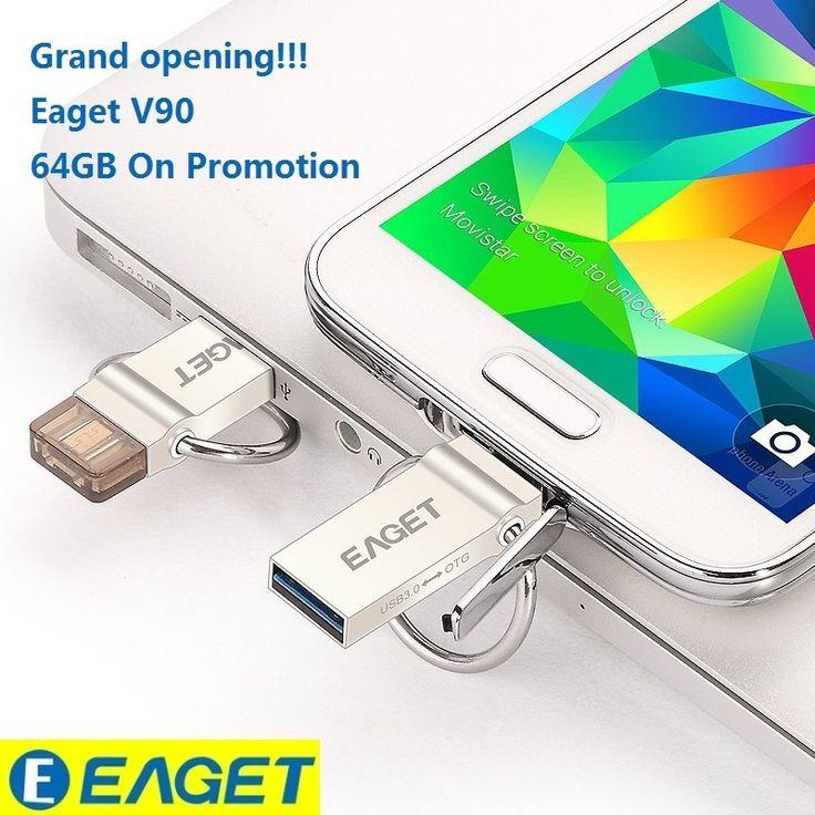 Best Pendrive!EAGET V90 OTG 16GB 32GB 64GB Usb Memory Stick Flash Pen Drive OTG Pendrive 3.0 USB Stick 32G OTG USB Flash Drive //Price: $19.98      #FirstDayOfSummer