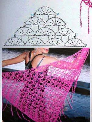 MB Crochê: Xale em crochê, #haken, gratis schema, omslagdoek, #crochet, free chart, wrap
