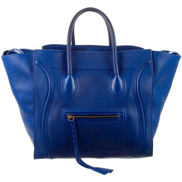 Pre-owned C?line Large Phantom Tote ($1,495) ❤ liked on Polyvore featuring bags, handbags, tote bags, blue, handbags totes, blue leather tote, blue tote bag, leather tote handbags and leather tote purse