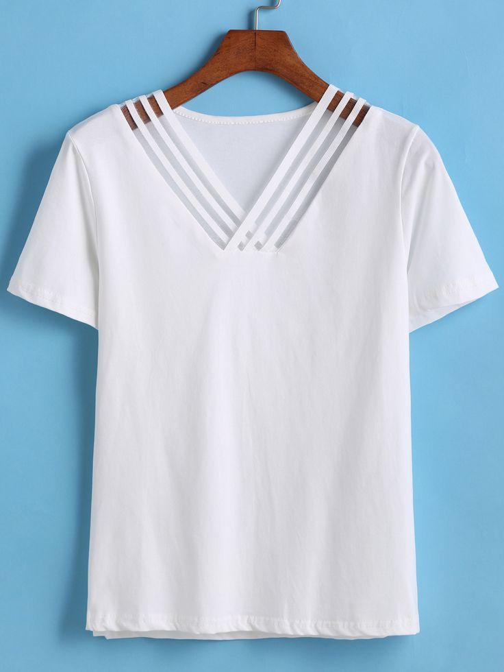 V Neck Hollow T-shirt