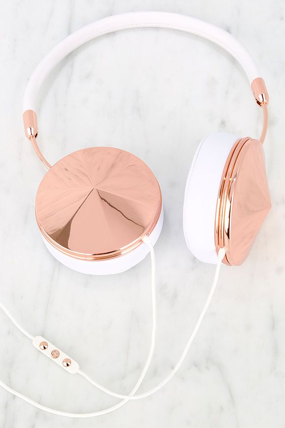 Rose Gold and White Headphones  ///  yes...