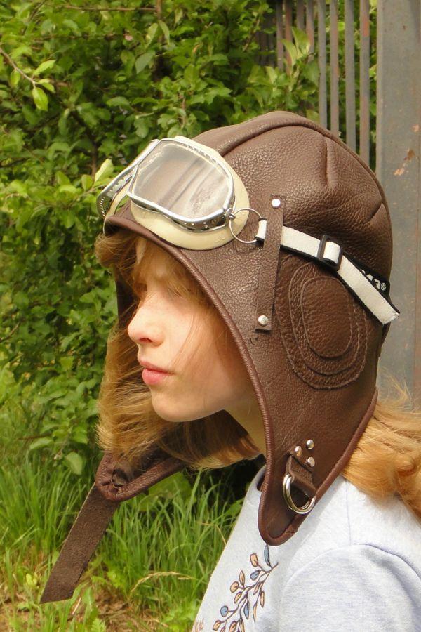 1734d8986b3 Pilot helmet Aviator Hat   goggles Soft dark brown cow leather ...