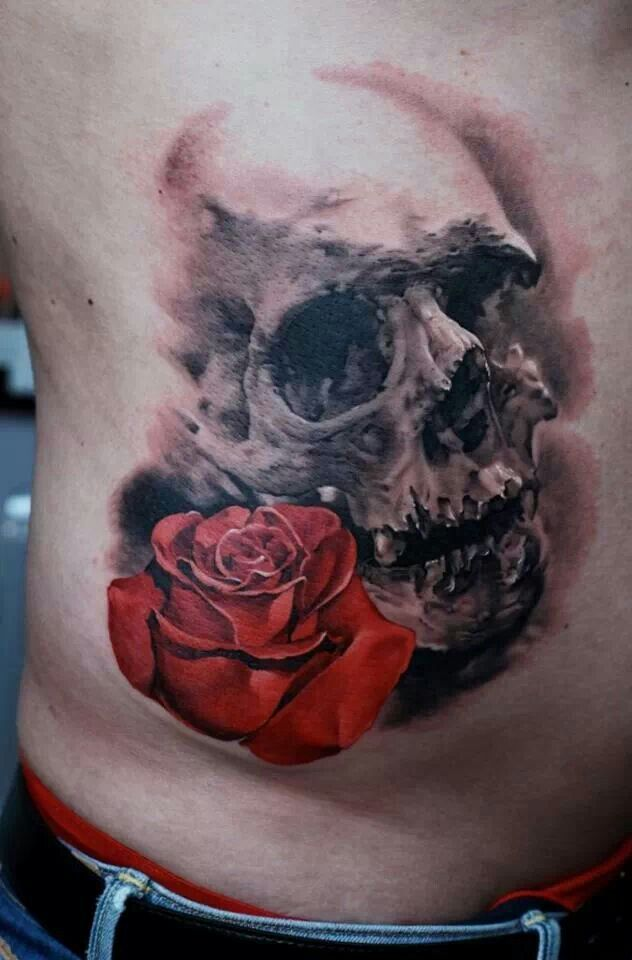Skull and Rose tattoo | skull art | Pinterest | Skull rose ...