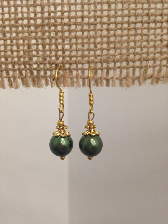 SALE  Green Pearl Drop Earrings by SCBoutique123 on Etsy