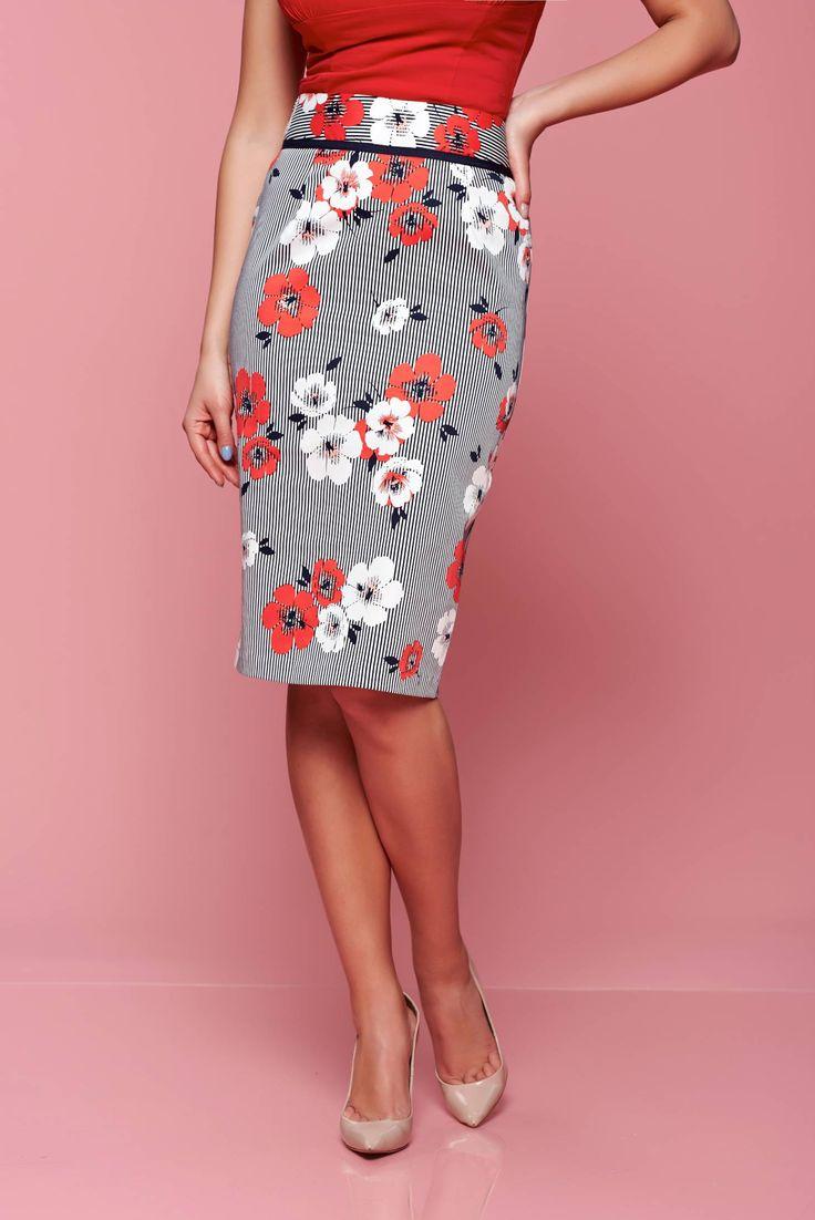 Comanda online, Fusta midi din bumbac Fofy rosie cu imprimeu floral. Articole masurate, calitate garantata!