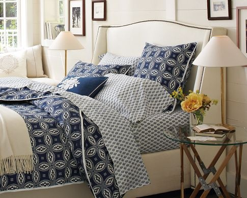From william sonoma home wingback headboard colors navy for Blue and cream bedroom design