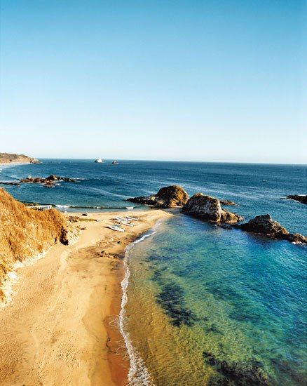 Oaxacan beaches, like the one off Mazunte's Casa Pan de Miel (right), range from having swimmable waves to featuring pro surfer-size breaks such as those at Playa Zicatela in Puerto Escondido.