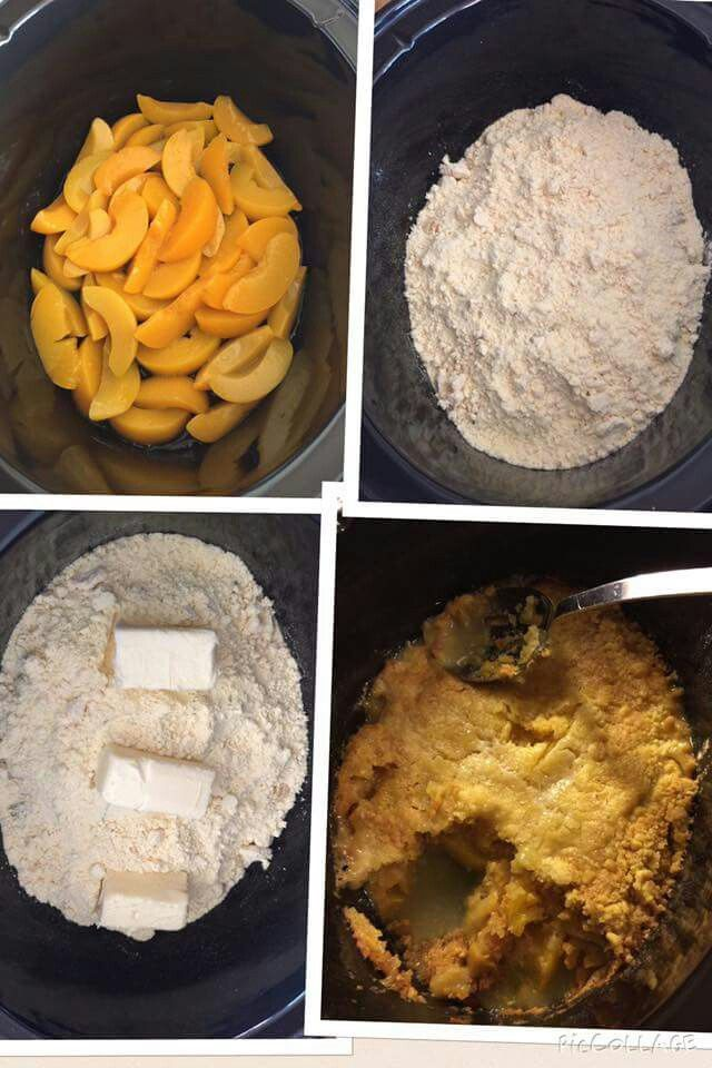 3 ingredient peach cobbler in crock pot: 2 cans (20 oz each) of peaches (or fruit of choice), 1 box yellow cake mix (or butter pecan cake) & 8 oz butter.  Cook on high for 2 - 2.5 hrs.