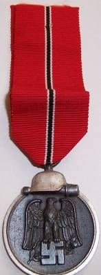 Medal for the Winter Campaign in Russia 1941-42.  Participating in 14 days of combat or performing 30 days combat sorties, or serving 60 days in the combat zone, or being wounded in the line of duty between 15 November 1941 and 26 April 1942.