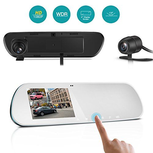 TryAce T9P Dual Dash Cam Rearview Mirror Backup Camera 4'' IPS Screen FHD 1080P Front and Rear Dash Camera with G-Sensor,WDR,Loop Recording,Super Night Vision Car Dashcams Pro-(Silver)