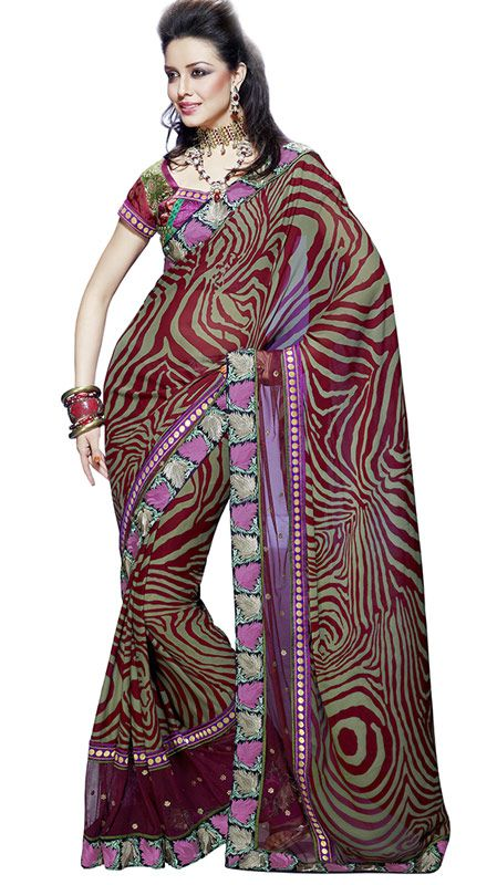 Dusty Green And Maroon Color Net And Georget Bollywood Saree. Sale: $62.70