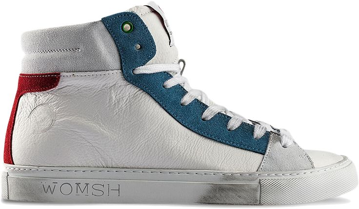 BASK WHITE/BLUE/RED  Tall and elegant for the most dynamic: a refined and incisive, glam, light and contemporary 100 % made ​​in Italy sneakers, Womsh are meticulous in detail and made ​​at zero impact, with all the care and wisdom that only the master craftsmen possess. The high quality materials, the interior lined in sponge insole wraparound leather- guarantee absolute comfort.  Natural leather and suede, maximum attention to detail, vintage wash, lined with natural sponge, wraparound…