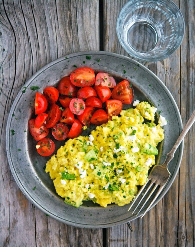 Tofu instead of the fluffy scrambled eggs with avocado + feta replace cashew cheese