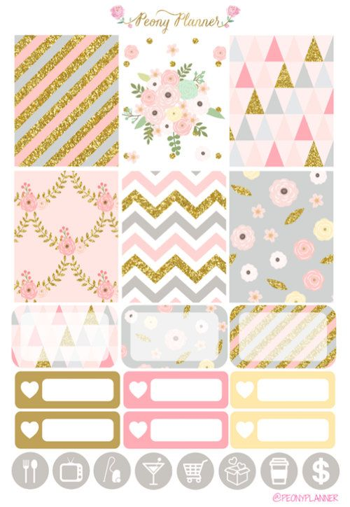 Gilded Weekly Kit Erin Condren Planner Stickers by PeonyPlanner