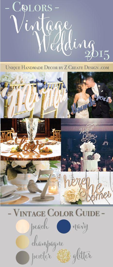 Color Trend: Vintage Wedding - How to Style   Custom Vintage Wedding Decor by Z Create Design   www.ZCreateDesign.com