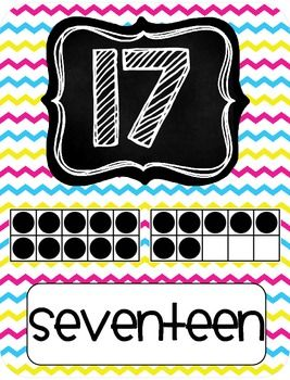 BRIGHT CHEVRON NUMBER POSTERS 1-20 {FREEBIE} - TeachersPayTeachers.com