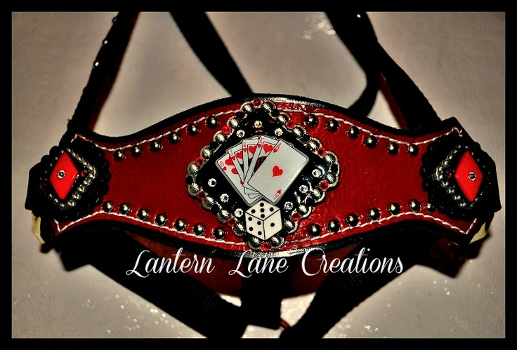 Feeling lucky? Custom bronc noseband halter Black leather , red patent leather, swarovski crystals