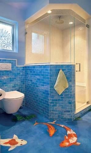 Love the blue tiles like water can paint the fish
