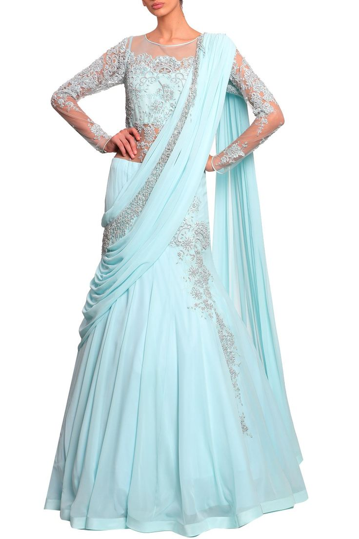 Featuring a powder blue sheer full sleeved draped lehenga saree gown based in lace and georgette with crystal and bead work embellishment. Fabric: Lace, Georgette Care Instructions: Dryclean only.