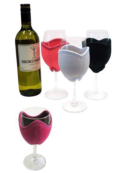 Wine glass stubby holders - great wedding favor!