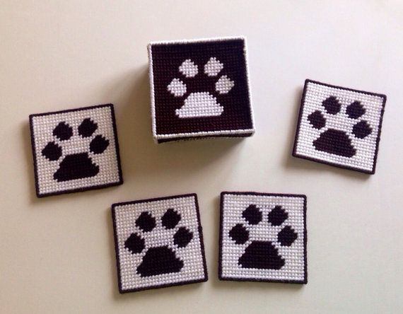 Paw Print Coaster Set with Box Plastic Canvas by stitchesoflight