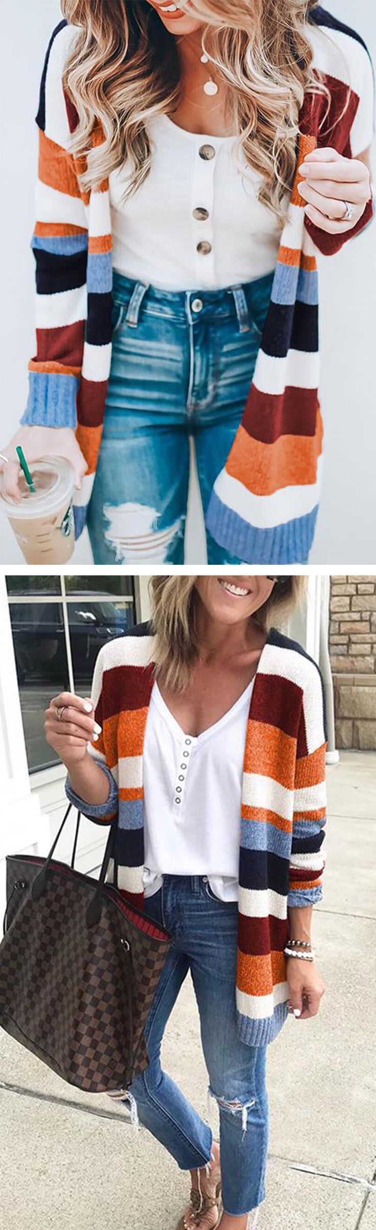 Only $42.99!Chicnico Colorful Striped Cardigan fall fashion trend outfits 2018... 3