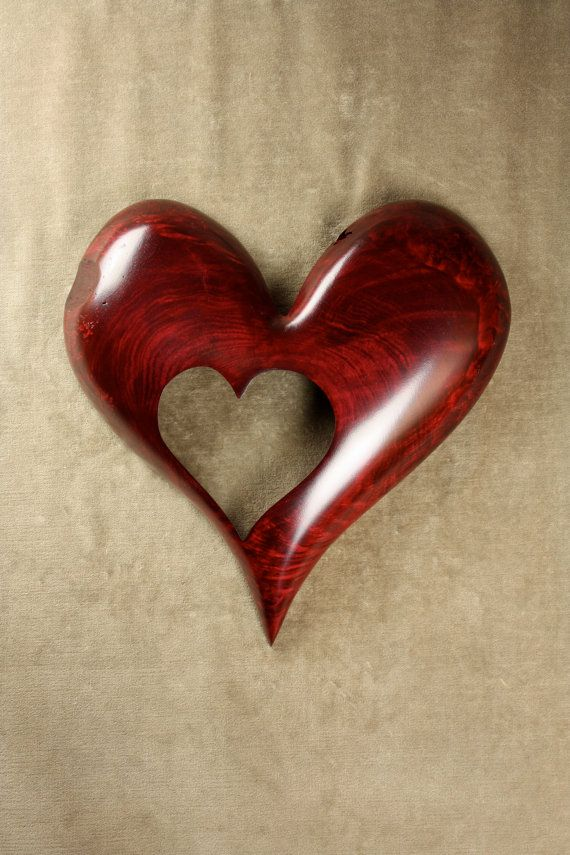 Red Heart Wood Carving Art Wooden Wedding by TreeWizWoodCarvings, $140.00