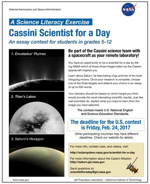 Cassini scientist for a day essay contest