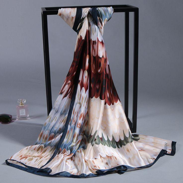 Zijden sjaal 100% Zijde Satijn Lange Sjaal Pure Dubbele satijn shawl Vrouwen bandana Luxe Sjaal Merk Sjaal hoge Kwaliteit Print