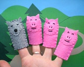 The Three Little Pigs Puppets for Kids, Pig Puppets, Felt Finger Puppets for Children, Waldorf/ Montessori Puppets