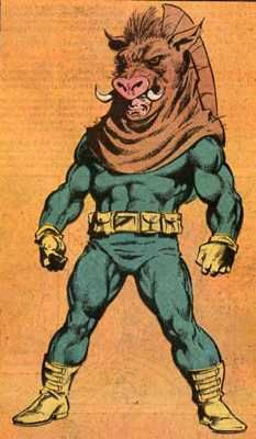 Worst Superhero #7 Razorback (1st appearance: Peter Parker: The Spectacular Spider-Man #12)  Spiderman. Check. Batman. Check. Wolverine. Check. Pigman. Sorry?!? Chances are when Buford Hollis decided to take inspiration from the humble farmyard animal he'd had too many brandies. Why else would you think dressing up as a pig to fight crime would be a good idea? Did we mention his superpower was the ability to drive any vehicle? Seriously, Hollis. Even Truckman's a winner compared with…